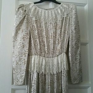 Vtg. Pleats & Lace Dress